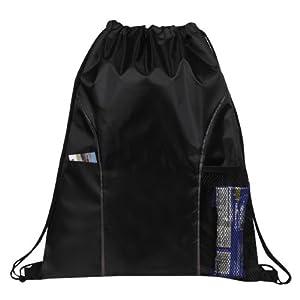 Dual Pocket Drawstring Backpack Bag (Black)