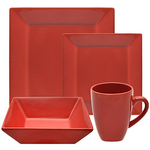 (10 Strawberry Street Square 16 Piece Dinnerware Set, Red)