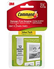 Command Medium Picture Hanging Strips Value Pack, 12 Pairs, White - 17204-12 (17204-12ES)