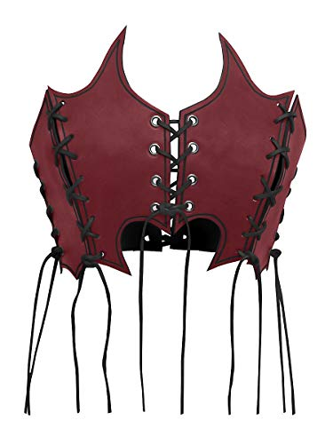 Andracor - Flamed Leather Corsage with Lacing for LARP, Medieval, Viking & Fantasy - Red - M (US 10)