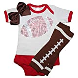 FanGarb Rhinestone Infant Toddler Baby Girls Football 2 Piece Outfit, Leg Warmers and Hair Bow