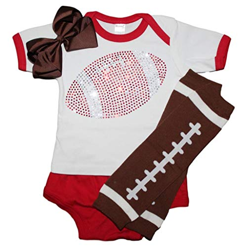 Louis Ball Long Cardinals (FanGarb Rhinestone Infant Toddler Baby Girls Football red Team Color Outfit 12-18mo)