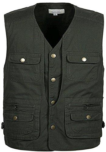 Armée Coton Zipper Photography Veste shirt Manches 2 Slim Homme Ws668 Gilet T Sans Vert Pocket Waistcoat Multi 8qZnwR0