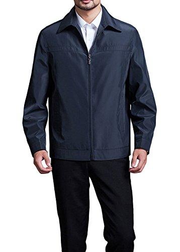 NXW Men's Spring Fashion Lapel Thin Slim Fit Zip Up Coat Jackets Outwear Dark-blue-L