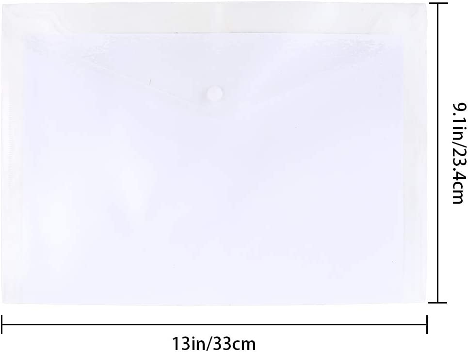 JPSOR 40pcs Plastic Envelopes,Clear Poly Envelope Waterproof File Folder with Snap Button, US Letter/A4 Size