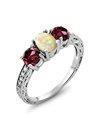 1.83 Ct Oval Cabochon White Ethiopian Opal Red Rhodolite Garnet 925 Silver Ring