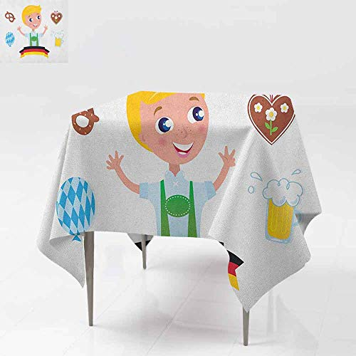 SONGDAYONE Soft Square Tablecloth German Bavarian Boy with Blonde Hair with Oktoberfest Symbols Beer Balloon and Pretzel Easy to Care Multicolor W50 xL50