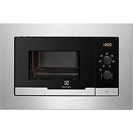 Electrolux EMM20007OX Integrado 20L 800W Acero inoxidable - Microondas (Integrado, 20 L, 800 W, Giratorio, Acero inoxidable, LCD): Amazon.es: Hogar