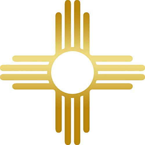 ANGDEST New Mexico IA Sun Symbol (Metallic Gold) (Set of 2) Premium Waterproof Vinyl Decal Stickers for Laptop Phone Accessory Helmet Car Window Bumper Mug Tuber Cup Door Wall Decoration