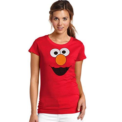 Sesame Street Elmo Face Women's T-Shirt-Junior Small [JS]