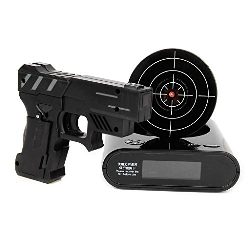 Lock N' load Gun alarm clock/target alarm clock/creative clock - Black (Alarm Clock That Runs Around The Room)