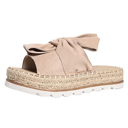 Goddessvan 2019 Women Peep Toe Casual Bow Knot Cross Criss Thickness Summer Slipper Sandals Shoes Beige