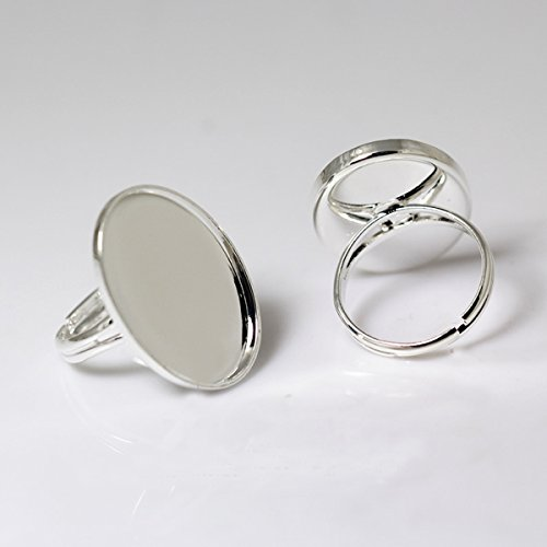 Oval Ring Blank - Adjustable Brass Ring Base Oval Shape Ring Blank Fit Gemstone Handmake Ring For Her (18x25mm, silver plated)