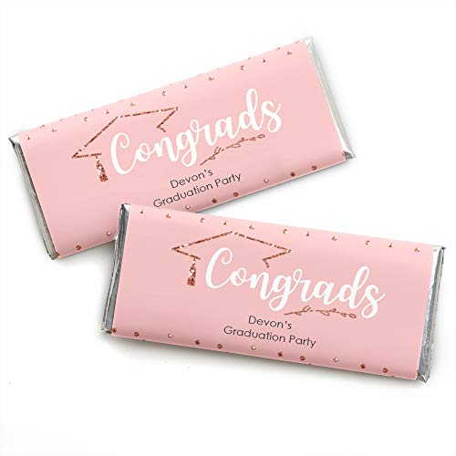 Personalized Rose Gold Grad - Custom Graduation Party Favors Candy Bar Wrapper - Set of 24 ()