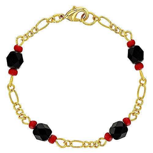In Season Jewelry 18k Gold Plated Simulated Azabache Evil Eye Protection Amulet Kids Bracelet 5.5