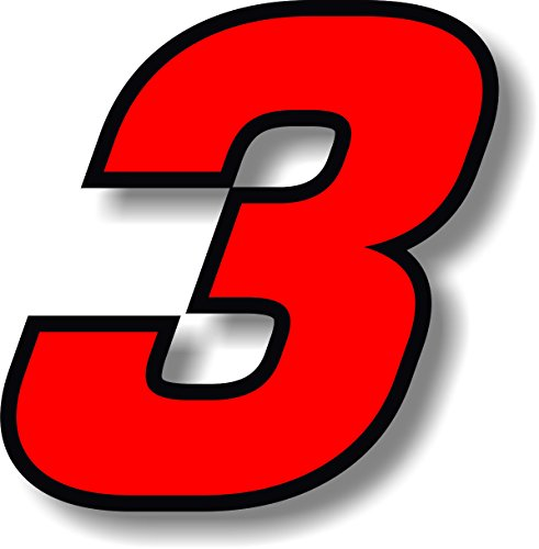 Vinyl sticker/decal Red, square font, race number 3 (Height: 6 inches)