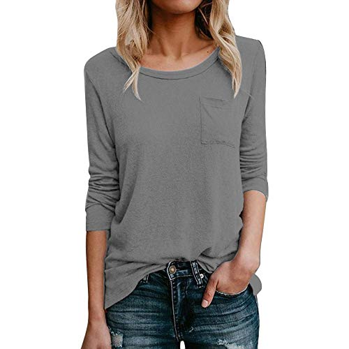 LYN Star✨ Womens Casual Color Block Long Sleeve Round Neck Pocket T Shirts Blouses Sweatshirts Tops Blouse Super Comfy Grey