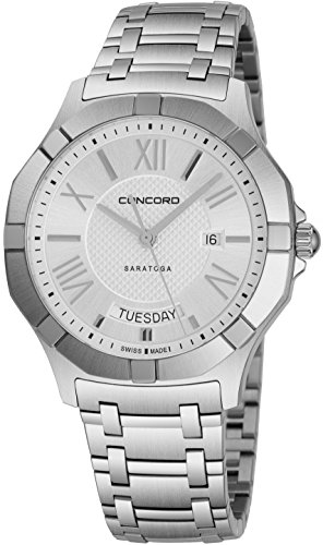 Concord Quartz Wrist Watch - Concord Saratoga Mens Stainless Steel Classic Watch - 40mm Silver Face with Second Hand, Day Date and Sapphire Crystal Analog Quartz Watch - Metal Band Swiss Made Nice Luxury Watches for Men 0320347