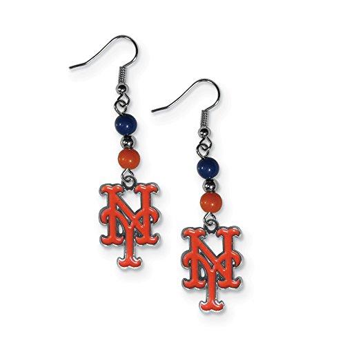 Gifts Licensed Gifts MLB Siskiyou Buckle New York Mets Fan Bead Dangle Earrings