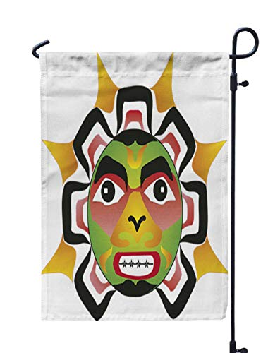 (HerysTa Outdoor Garden Flag Decorative Yard Farmhouse Holiday Banner 12 X 18 inches Multicolor Sun Rendered in Northwest Coast Native Style Double-Sided Seasonal Garden)