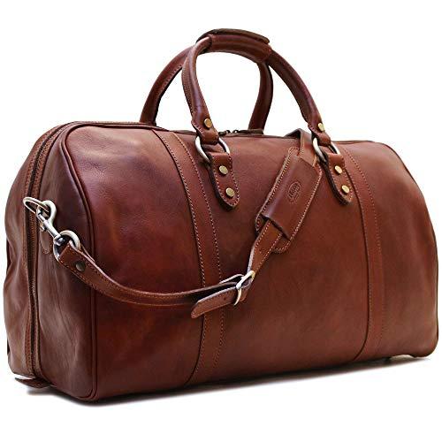 Floto Roma Cabin Bag Saddle Brown Italian Leather Weekender ()
