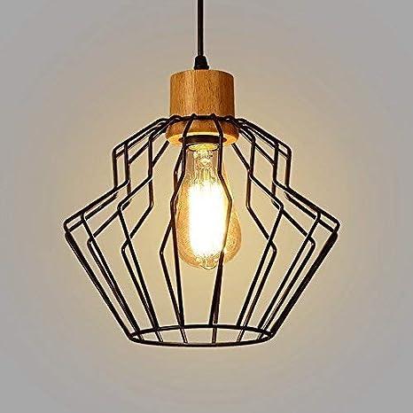 Glighone Lámpara de Techo Lámpara Industrial Luz Vintage Lámpara Colgante Estilo Rústico Casquillo E27 Luz de Pantalla Jaula de Hierro para Decoración ...