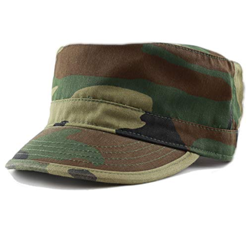 - THE HAT DEPOT Cadet Army Washed Cotton Basic Cap Military Style Hat (Wood Camo)