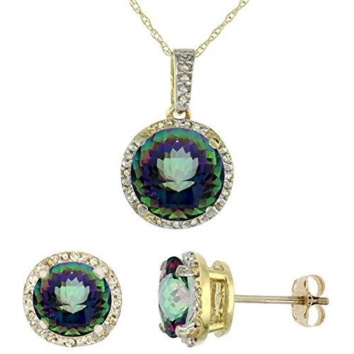 Or jaune 9Ct naturel rond Mystic Topaze Boucles d'oreilles et pendentif Set Accents de diamant