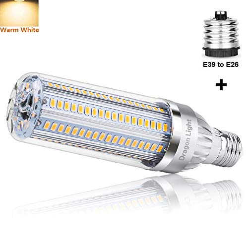 25W Super Bright Corn LED Light Bulb(250 Watt Equivalent) - 3000K Warm White 2900Lumens - E26 with E39 Mogul Base Adapter for Large Area Commercial Ceiling Light - Garage Warehouse Porch Backyard