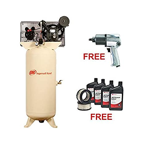 Ingersoll-Rand Electric-Driven Two-Stage 80 vertical 7 5HP w/ FREE Air  Impact Wrench & Start Up 2475N7 5-VTS
