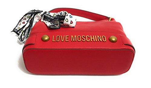 BORSA DONNA LOVE MOSCHINO A MANO/ TRACOLLA NAPPA GRAIN PU COL. ROSSO FOULARD BS18MO130