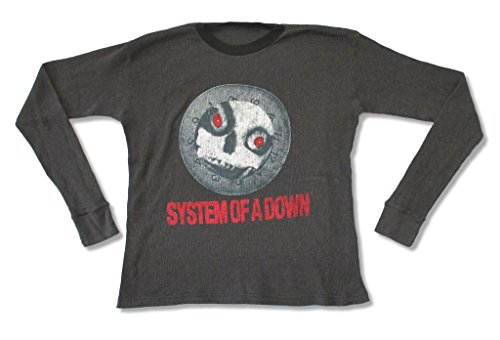 American Apparel System of a Down Skull Clock Adult Men's Gray Thermal Shirt (XL)