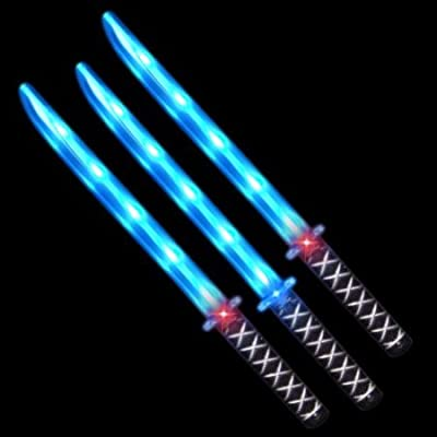 Deluxe Ninja LED Light up Sword with Motion Activated Clanging Sounds (3-Pack): Toys & Games