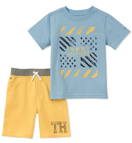 Tommy Hilfiger 2 Piece - Tommy Hilfiger Toddler Boys' 2 Pieces Shorts Set, Blue/Yellow, 3T