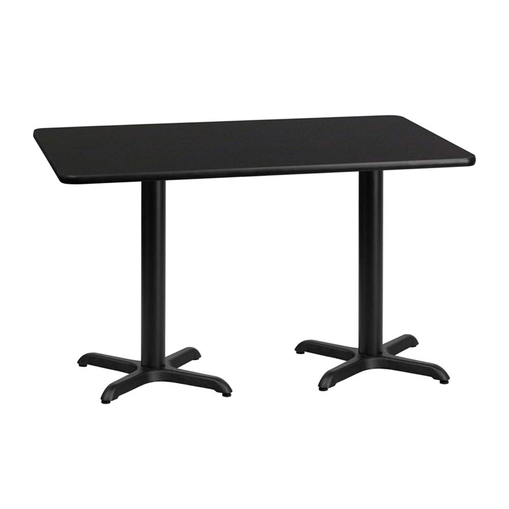Offex 30'' x 60'' Rectangular Black Laminate Table Top with 22'' x 22'' Table Height Bases by Offex