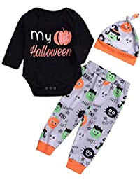 OWMEOT Girls Dress,Toddler Kids Baby Girls Halloween 🎃Pumpkin Romper+Cartoon Print Pants+Hat Set Outfit