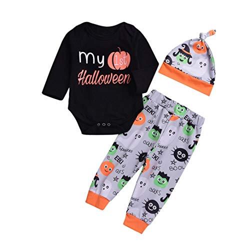 OWMEOT Girls Dress,Toddler Kids Baby Girls Halloween Pumpkin Romper+Cartoon Print Pants+Hat Set Outfit (Black, 100)