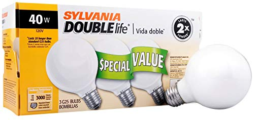 - SYLVANIA Home Lighting 15345 Incandescent Bulb, G25-40W, Soft White Finish, Medium Base, Pack of 3