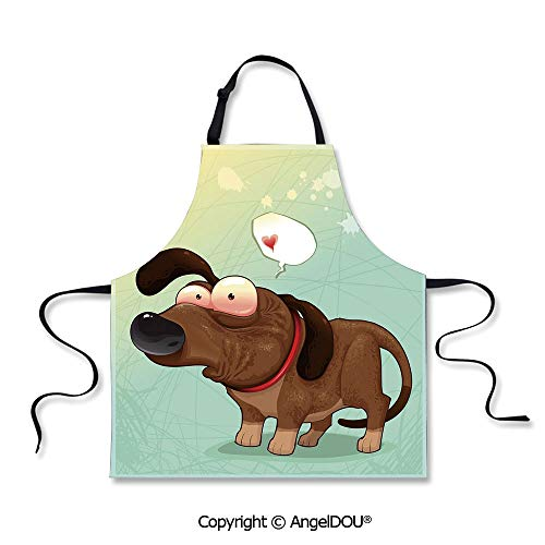 SCOXIXI Kitchen Bib Apron with Adjustable Neck Puppy in Love Werner Dog Romance Confusion Humor Caricature Style Pet Graphic for Grill BBQ Cooking Cosplay Party.