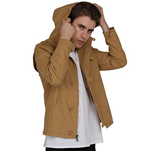 - WEEN CHARM Men's Hooded Zip Up Anorak Jacket Lightweight Cotton Military Windbreaker Jacket Khaki