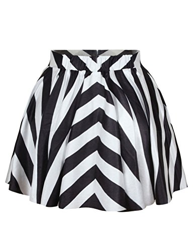 (Pink Queen Women Girls Digital Print Stretchy Flared Pleated Casual Mini Skirt (Free Size, Black&White))