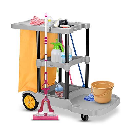 COSTWAY Commerciële schoonmaakkar, 3 Plank Huishoudelijke Utiliteitswagen