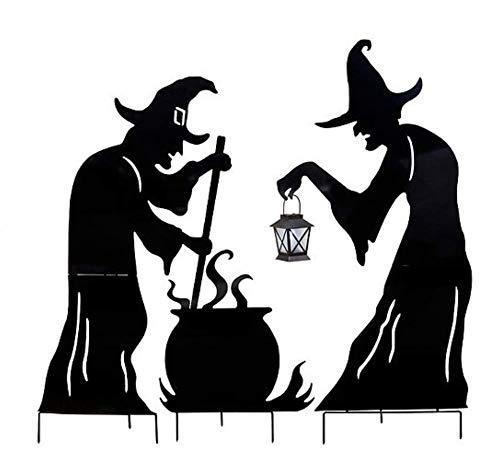 DermaPAD Witch Silhouettes with Cauldron Outdoor Halloween Decoration ()