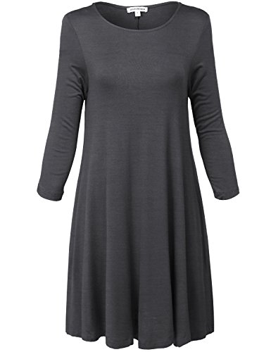Lightweight 3/4 Sleeve Soft Swing Tunic Dresses,061-charcoal,Small