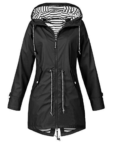(Coolred-Women Premium Bugaboo Jacket Hood Plus Size Raincoat Black)
