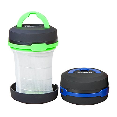 Life Gear 2-in-1 Portable Collapsible Bright LED Lantern and Tent Flashlight | Small Water Resistant Camping and Emergency Pop Up Lantern
