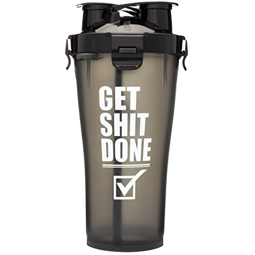 Hydra Cup 3.0-36oz High Performance Dual Shaker Bottle, 2 in 1, 14oz + 22oz, Leak Proof, Awesome Colors, Patented PRE + Protein Shaker Cup, Save Time & Be Prepared, Get It Done Black