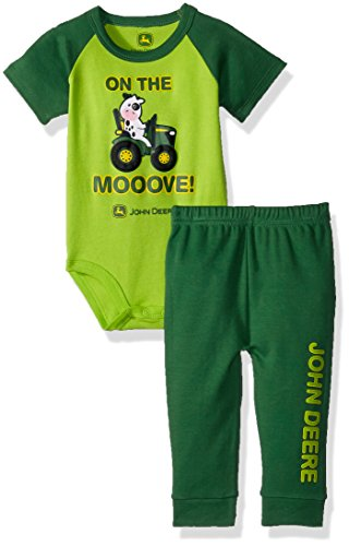 John Deere Baby Boys Bodysuit and Pant Set, Green/Lime, 12/18 Month