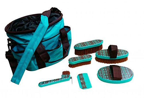 Showman Grooming Tote Bag Kit with Shoulder Strap and Six Outer Pockets Navajo Print (Teal/Brown)