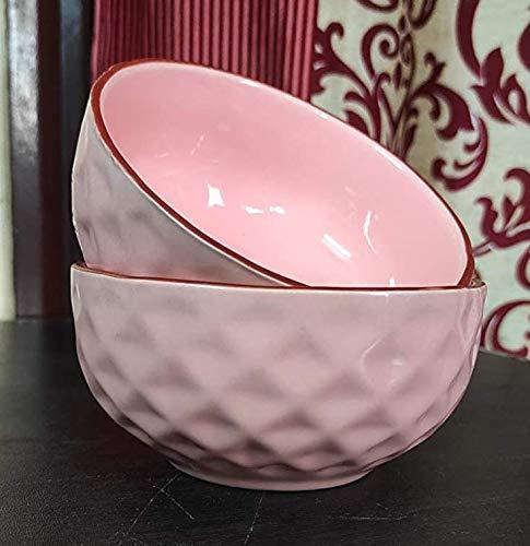Ceramic Cereal Bowls  Set of 2   Baby Pink